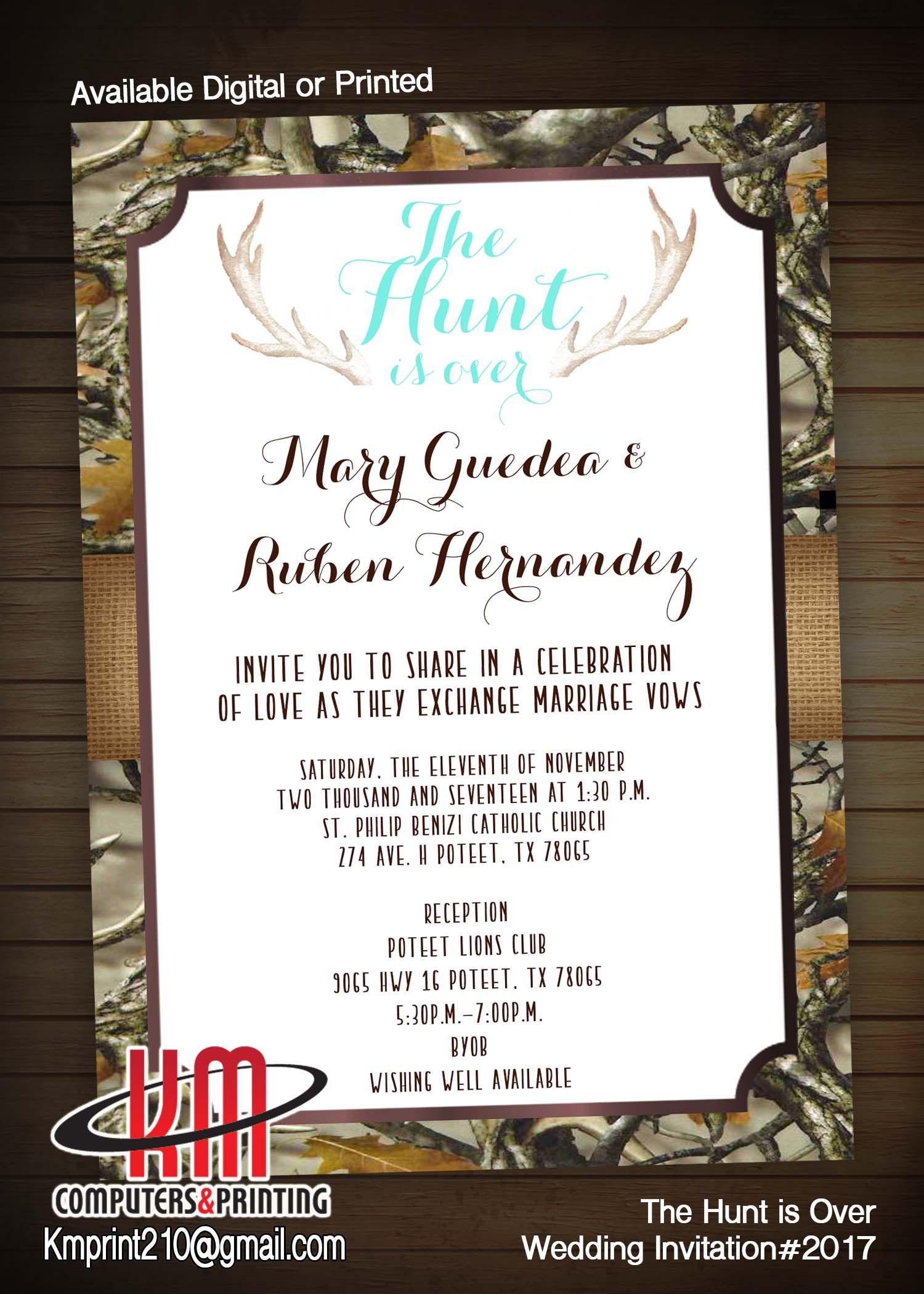 The Hunt is Over Wedding Invitations Hunting theme Deer Antlers ...