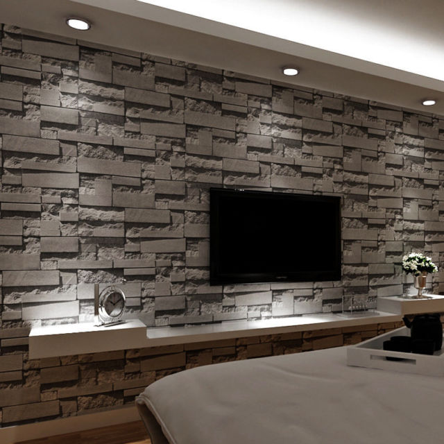 Dark Gray Stacked Brick Wallpaper Realistic 3d Effect Rustic Feature Wall Covers Ebay Brick Wall Wallpaper Brick Wallpaper Brick Living Room