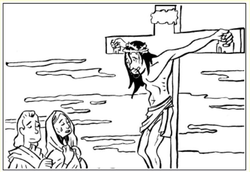 Pinto Dibujos: María llorando por Jesús en la cruz – para colorear ...