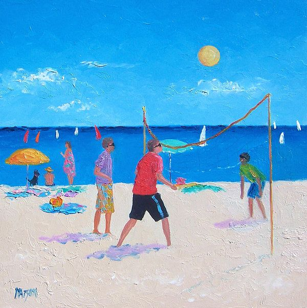 Beach Painting Beach Volleyball By Jan Matson By Jan Matson Beach Painting Aqua Art Sports Painting