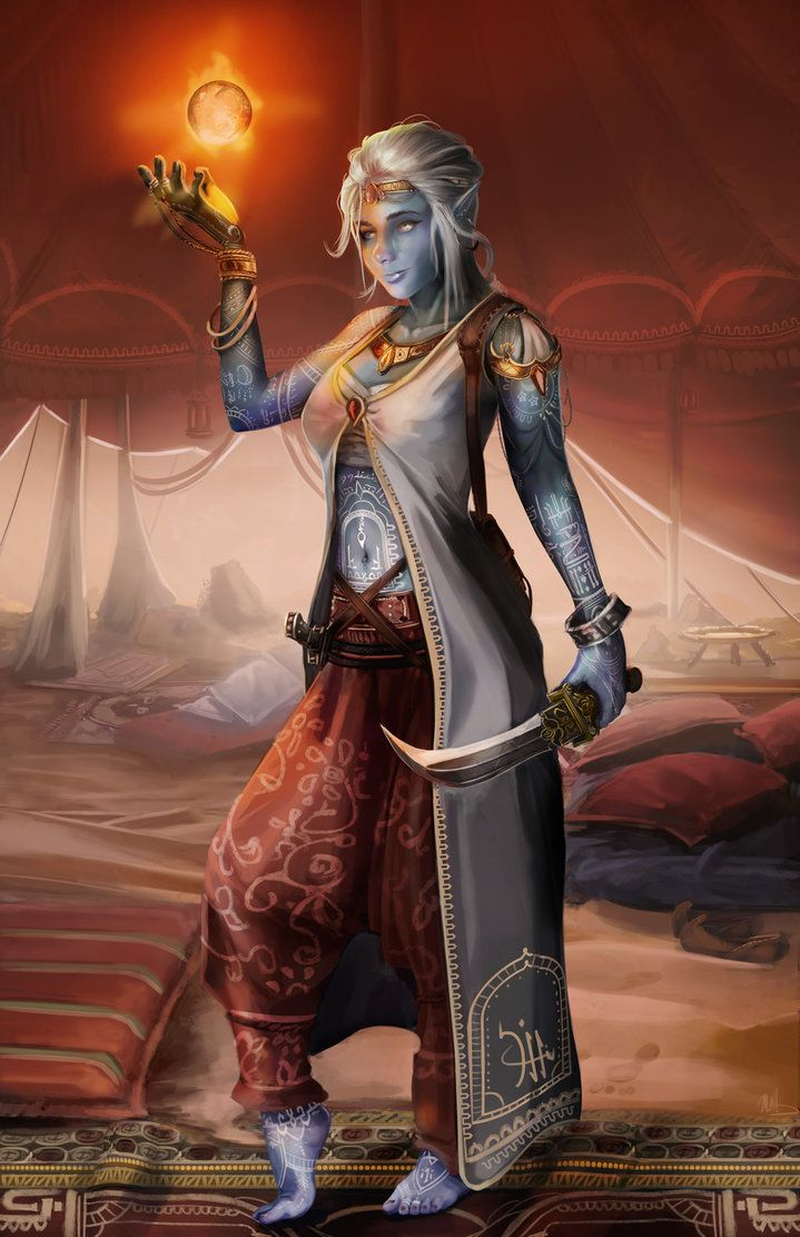 djinn elf commission by devtexture d d character art pinterest