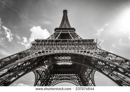Stock photo eiffel tower paris in black and