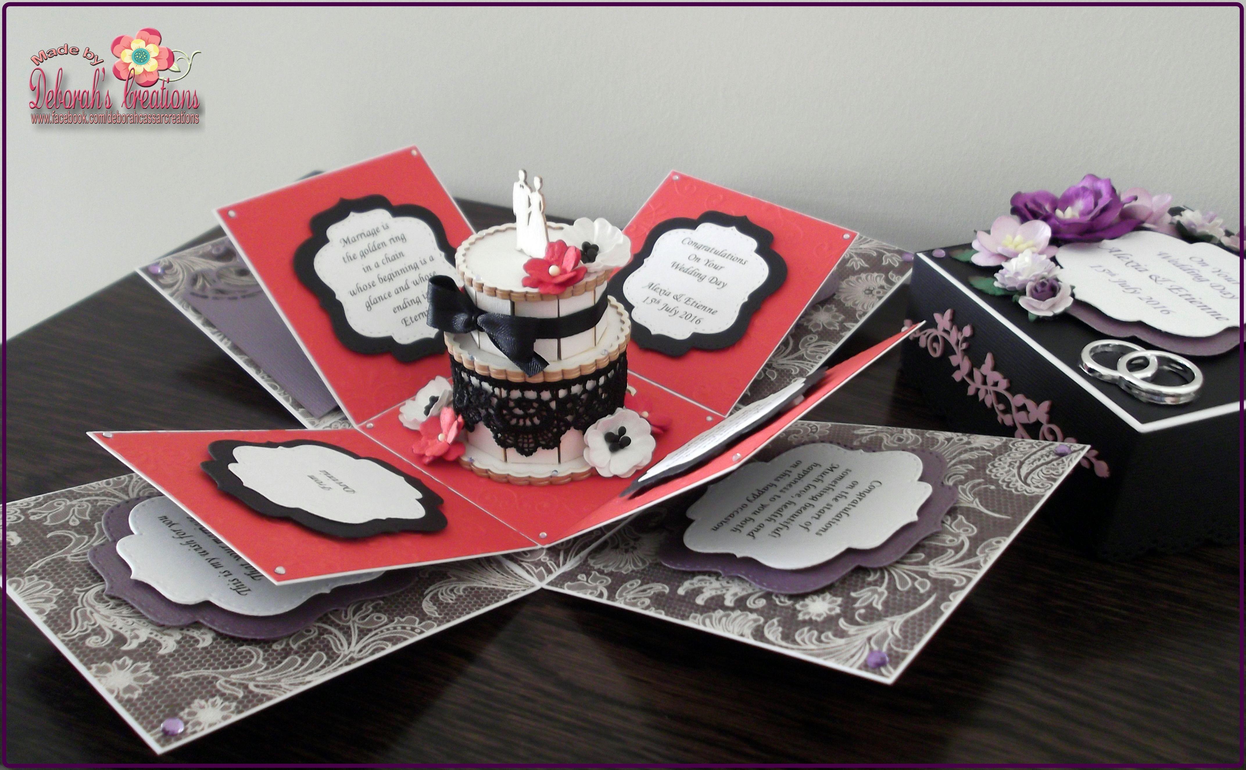 Purple/Red & Black Colour Theme Wedding Exploding Box Card | Коробки ...
