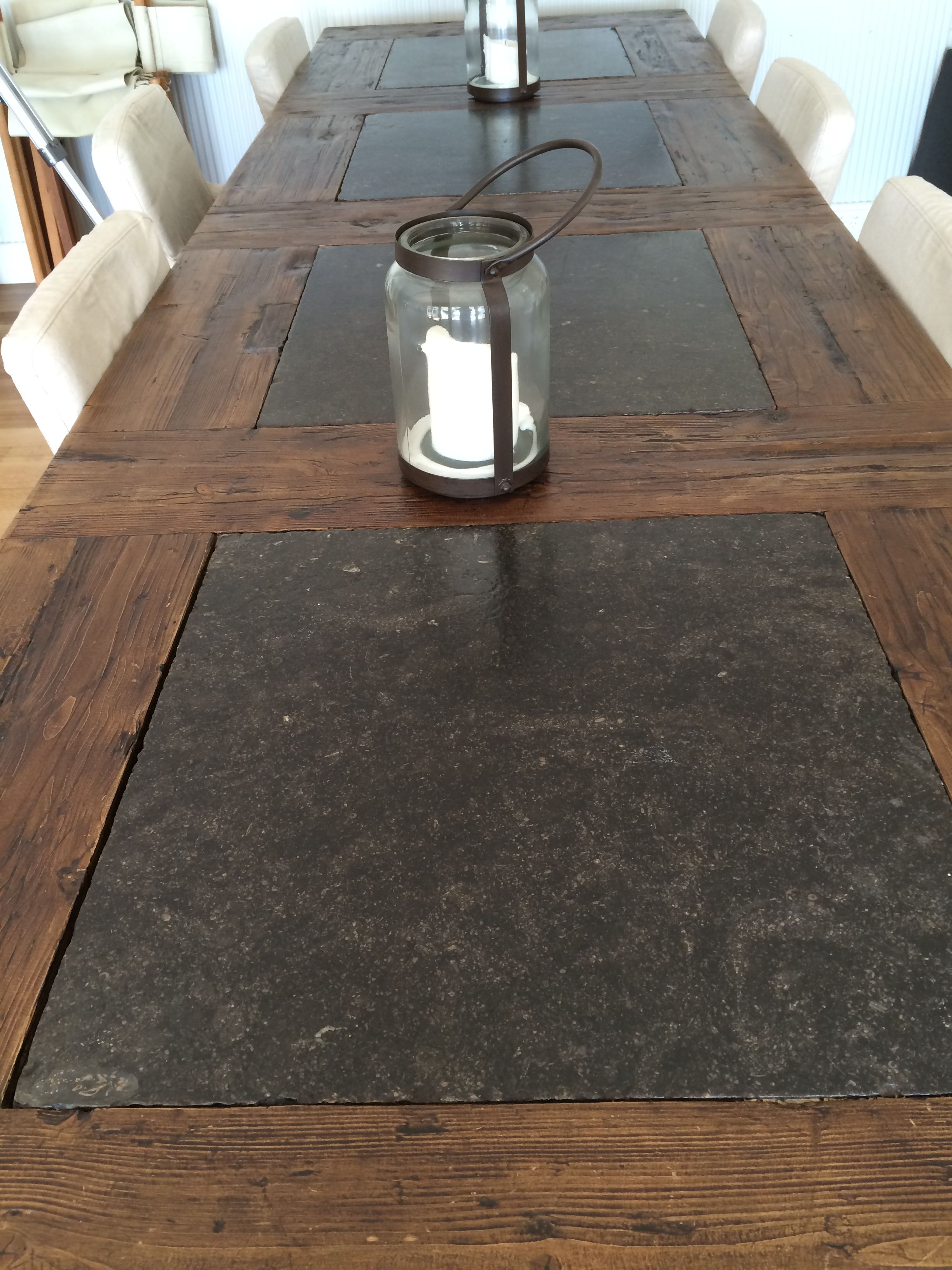 Kitchen bench top   granite inlay with wood   Wood table diy, Wood ...