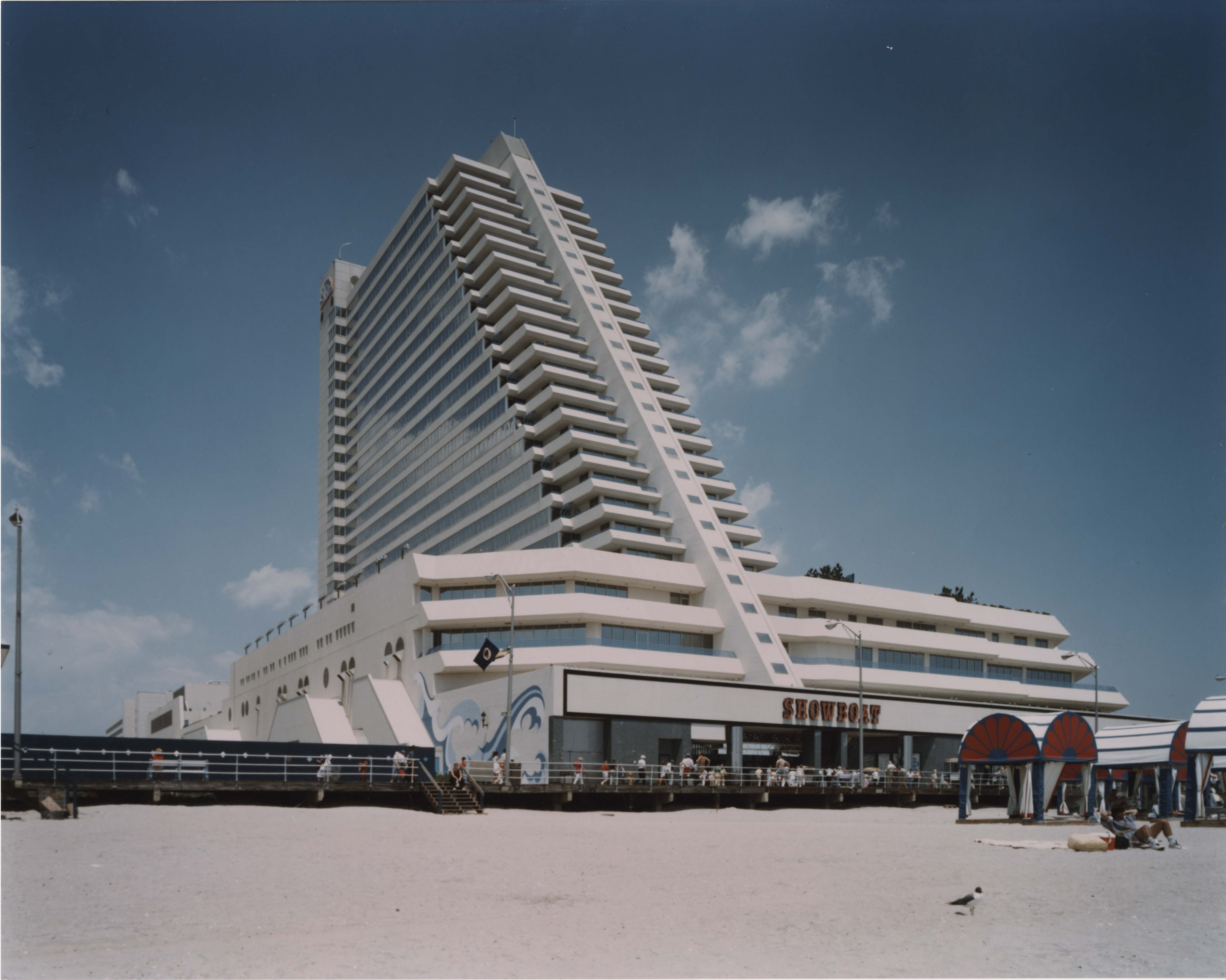 The Showboat Hotel And Casino From The Beach In Atlantic City Circa March 1987 Image Is A Part Of The Unlv Libraries Googie Architecture Googie Skyscraper