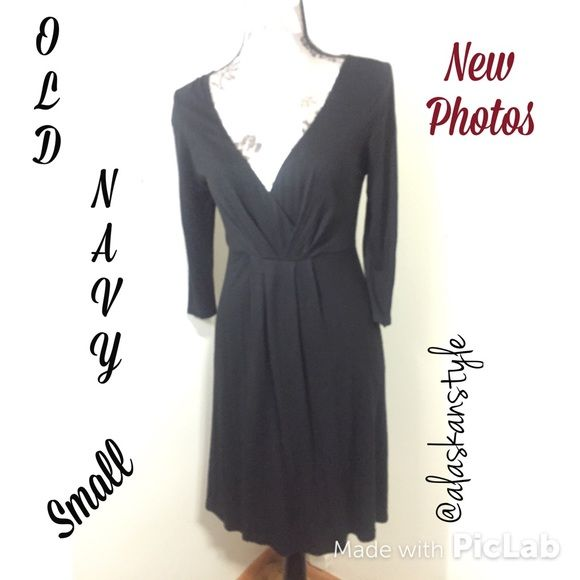 Old Navy faux wrap black jersey dress S⤵️Reduced Long sleeved black midi dress. 100% rayon. Very stylish plunging neck line and waist design. Never machine washed or dried. Like new. Size is petite small. No flaws. Hand Wash only. Old Navy Dresses Long Sleeve