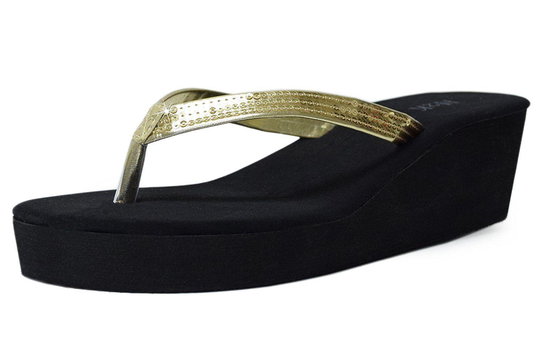 60859e23ecf H2K  HIGHBEE  Women s  Lightweight  Comfy Wedge Platform Low Heel Flip-Flops  Slip-On  Thong Sandals      You can get additional details at the image  link.