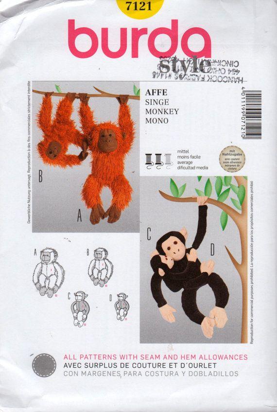 Burda 7121 Monkey Chimp Orangutan Sewing Pattern 3 Sizes 17 23 and ...