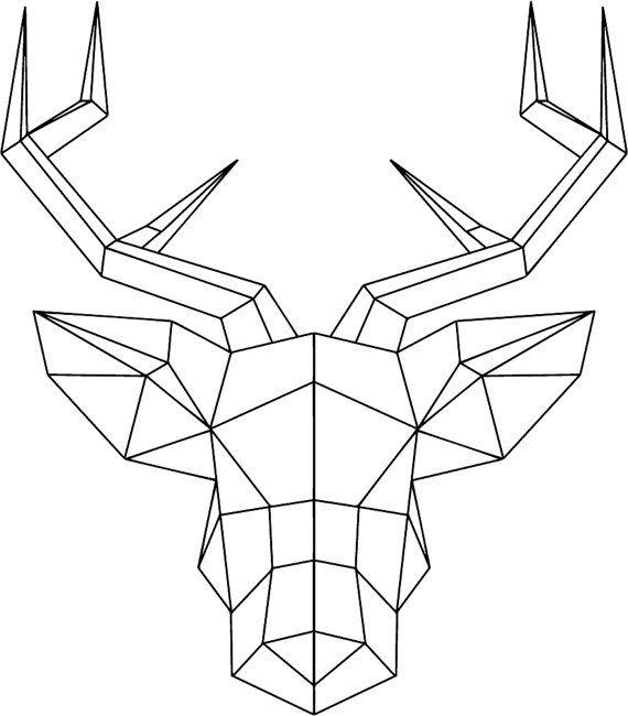 Geometric Deer Head with antlers wallsticker by