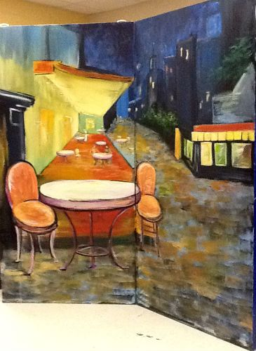 Prom set painting: Paris Cafe (vaguely after Vincent) 2014