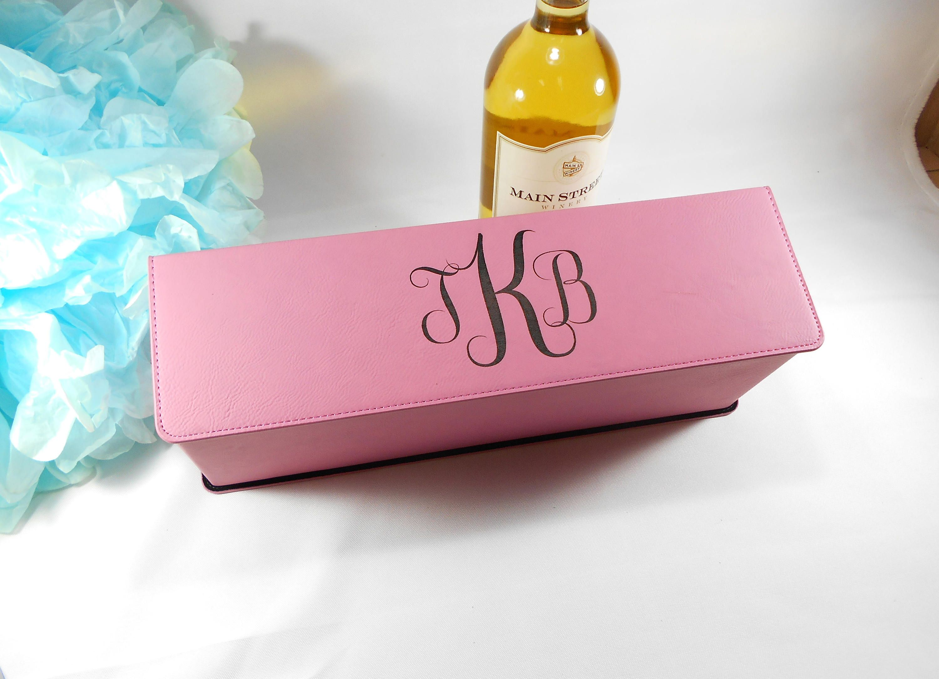 Personalized Pink Leatherette Wine Box, Custom Engraved Wedding Wine ...