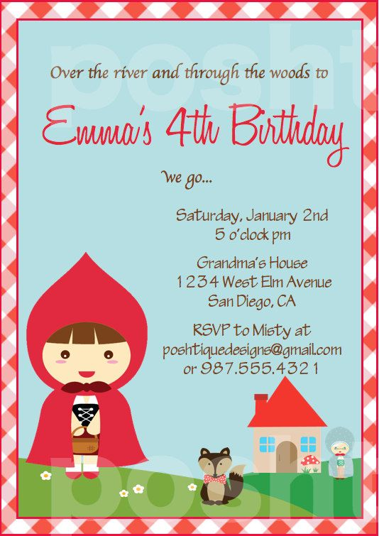 Little Red Riding Hood INVITATIONS - Printable PDF Birthday Party