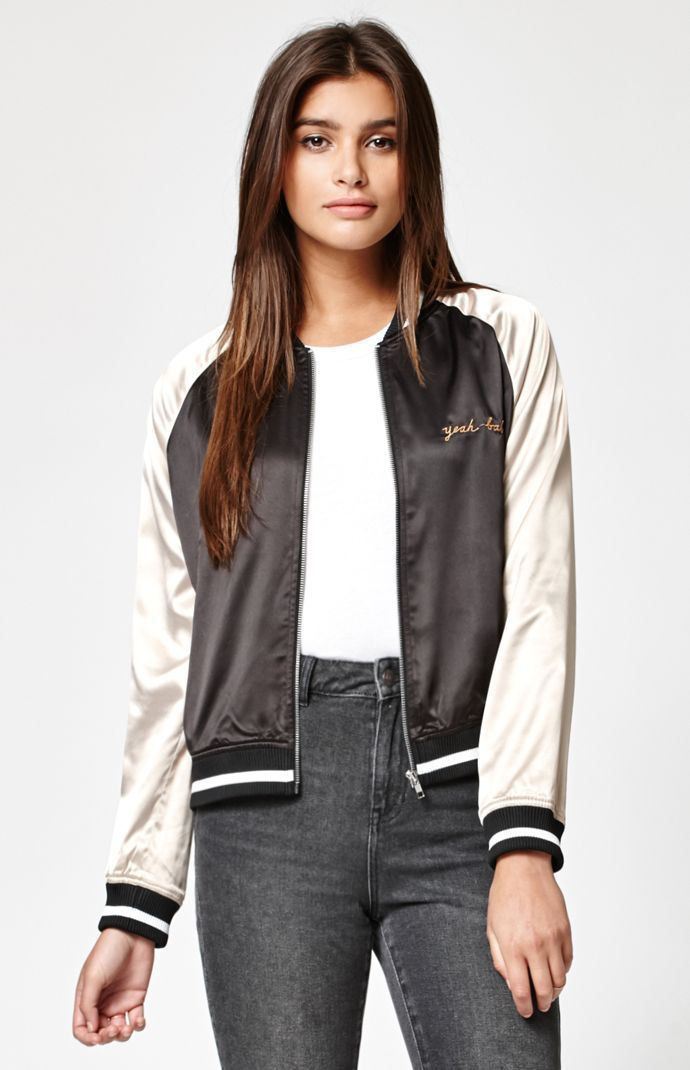 834eeb7f2 Kendall & Kylie Two-Tone Satin Bomber Jacket   W E A R in 2019 ...
