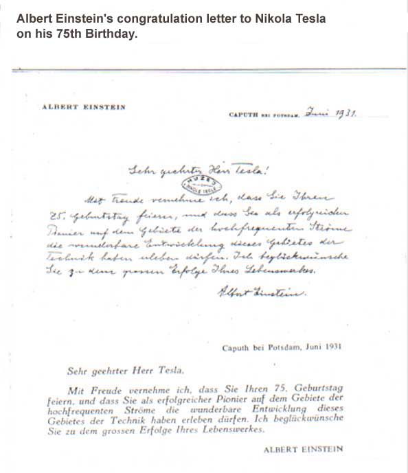 Albert EinsteinS Congratulation Letter To Nikola Tesla On His