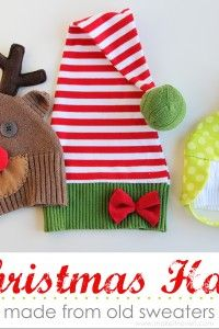 6683ce93e0 Snowman Reindeer Elf Christmas Hats.....made from old sweaters