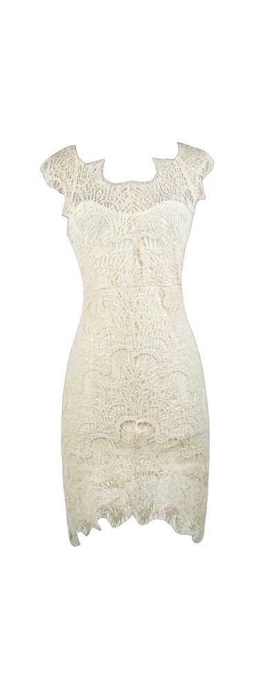 bd8746e437 Lily Boutique The High Low Life Lace Sheath Dress in Cream