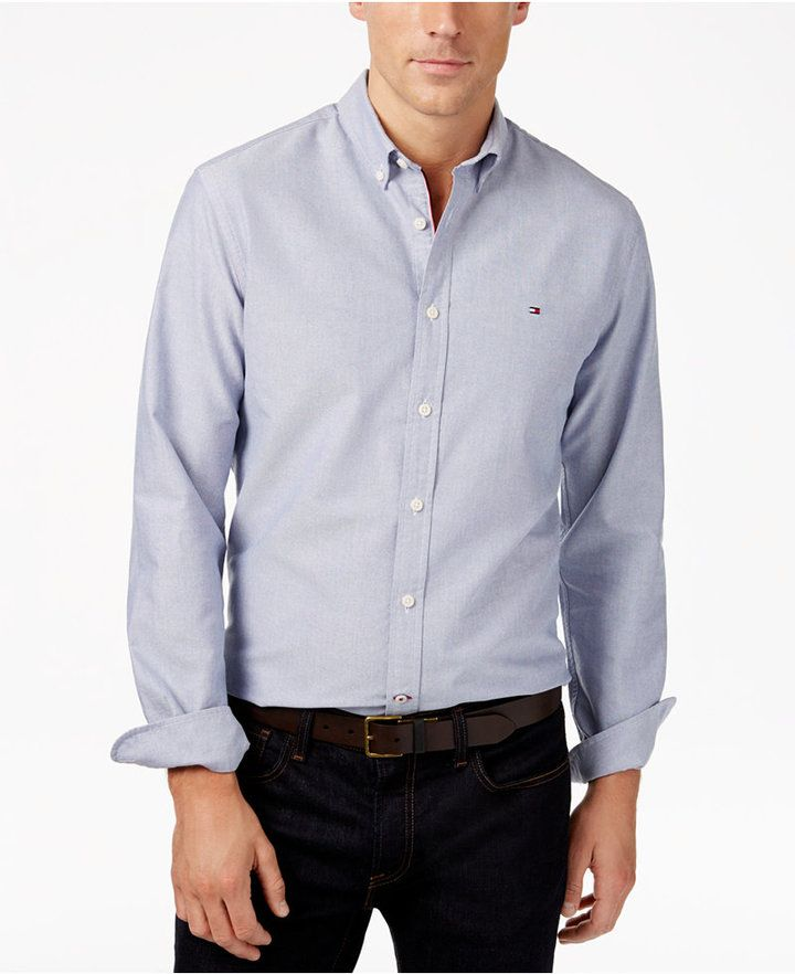 a602c0d4 Men's Custom Fit New England Solid Oxford Shirt, Created for Macy's ...