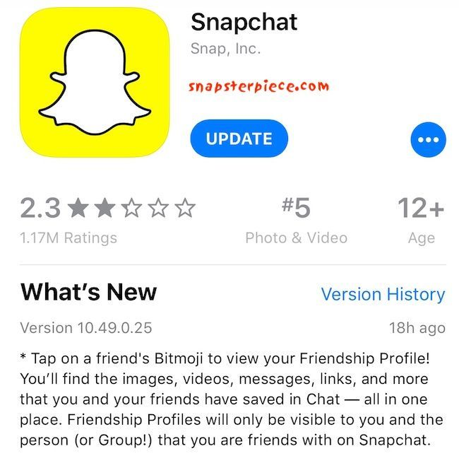 Snapchat App Update iOS 10.49.0.25 January 22 2019