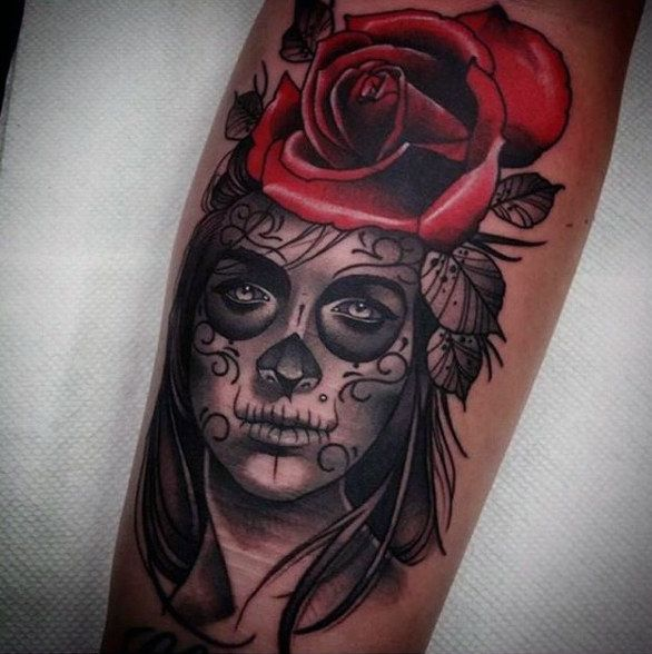 Man With Gorgeous Red Rose And Day Of The Dead Woman
