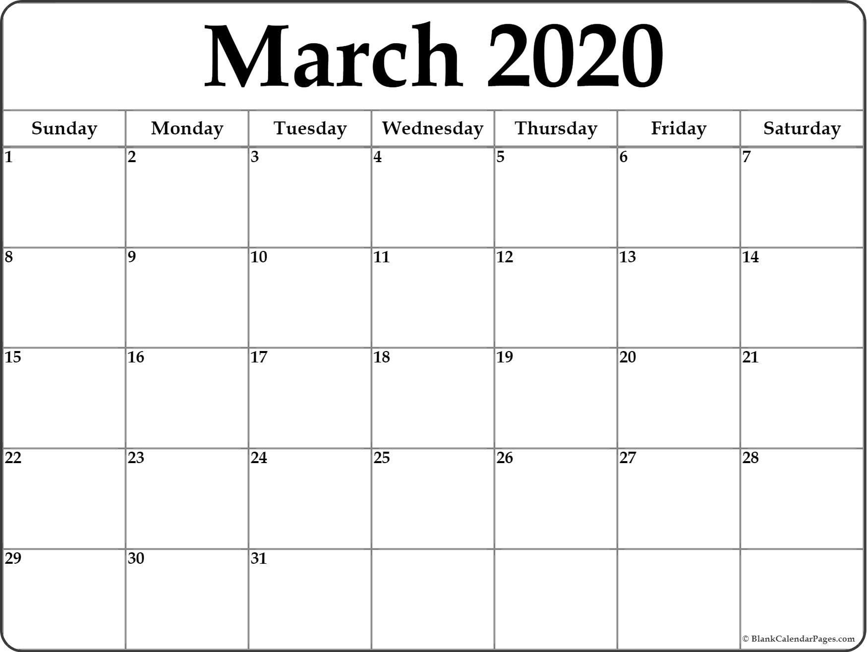 March 2020 Blank Calendar Templates March 2020 Calendar Templates