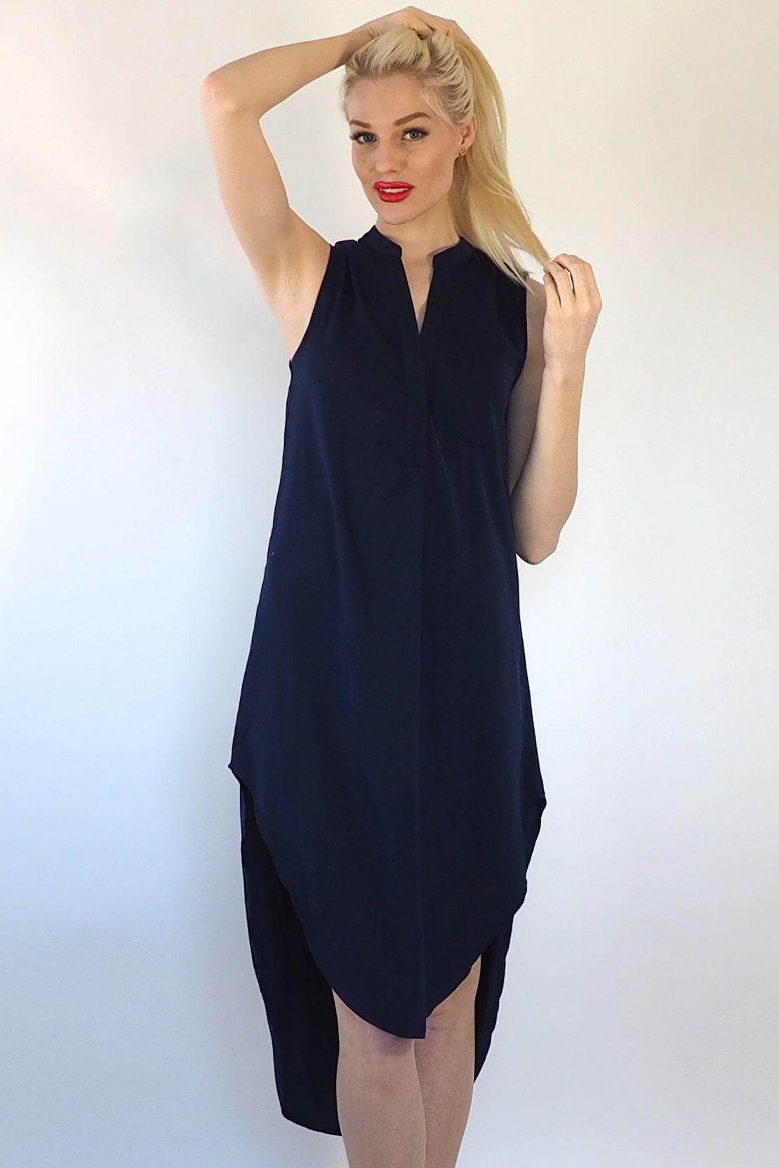 Sage - Dark Navy Shirt Dress