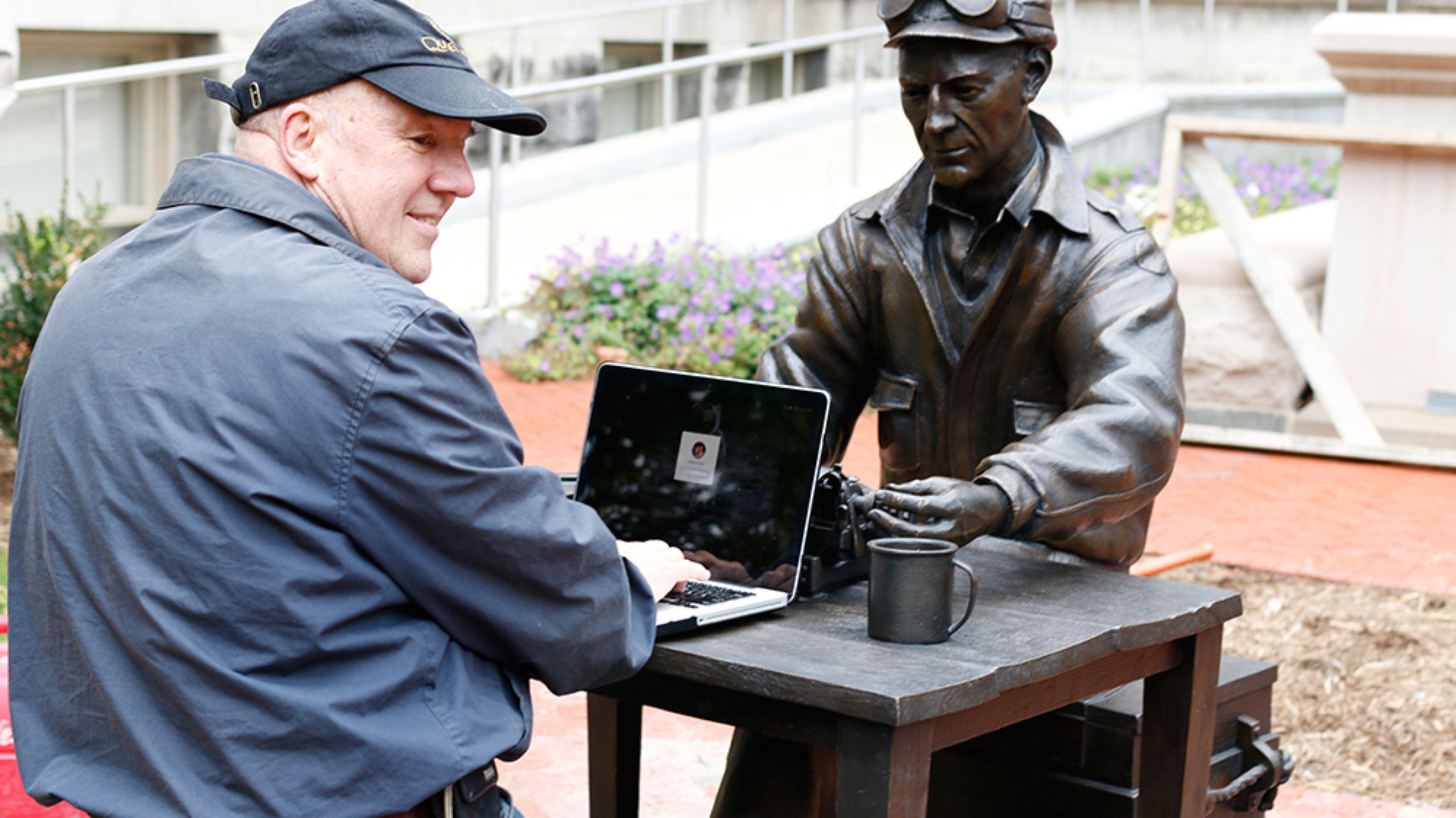University statue of famed war journalist has a typo
