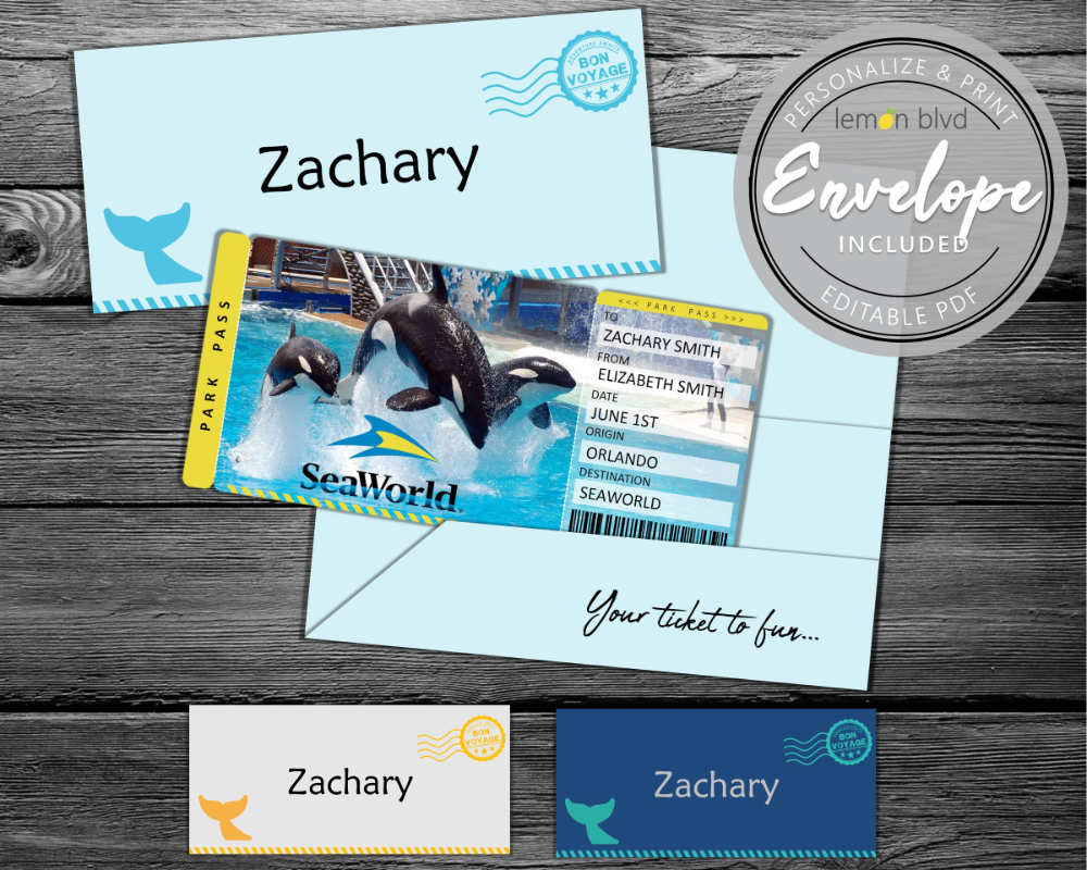 Seaworld Trip Tickets Surprise Trip Reveal Idea With A Printable Seaworld Pass Cute Vacation Reveal Surprise Trip Reveal Sea World Surprise Vacation