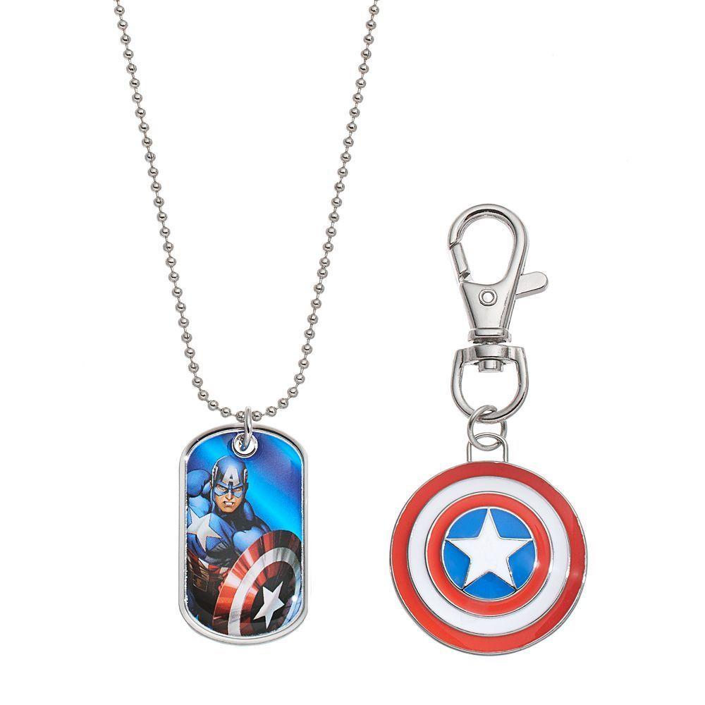 Marvel avengers captain america kidsu dog tag necklace key chain