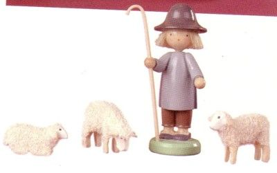 Shepherd With His Sheep (Set of 4) - Werkstätten Flade