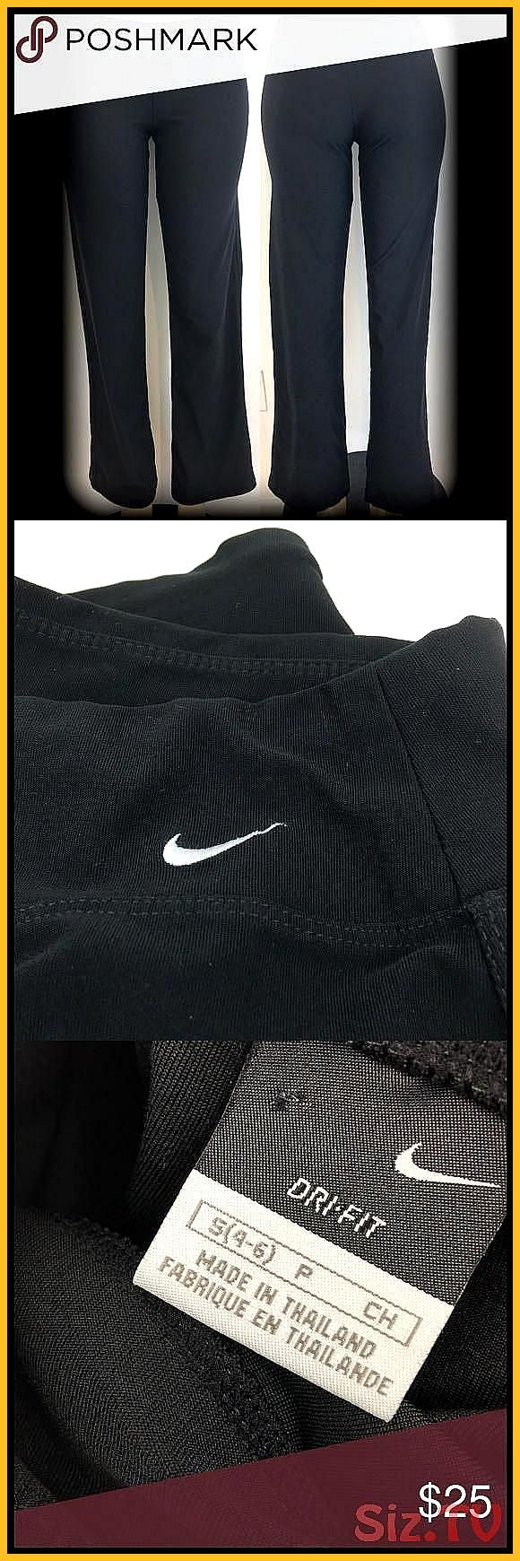 NIKE Dri Fit Logo Fitness Yoga Black Pants Size Small but runs a tad bit larger wider lower leg Wais...