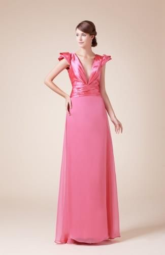 Chiffon V-Neck Party Gown - Order Link: http://www.theweddingdresses.com/chiffon-v-neck-party-gown-twdn7481.html - Embellishments: Ruching; Length: Floor Length; Fabric: Chiffon; Waist: Natural - Price: 131.99USD