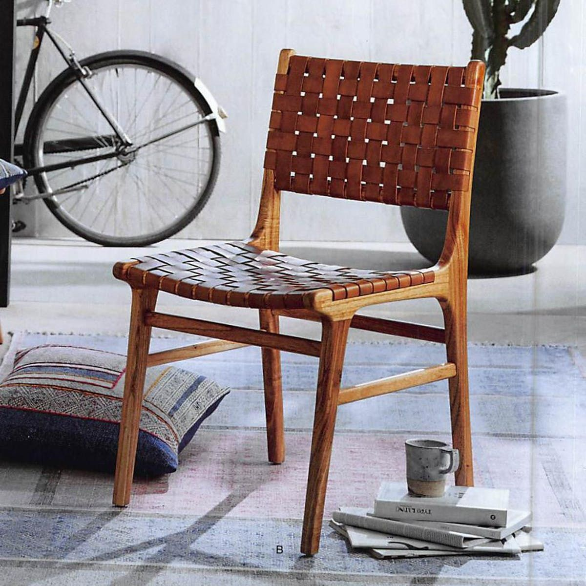 Leather Woven Dining Chair Set Of 2