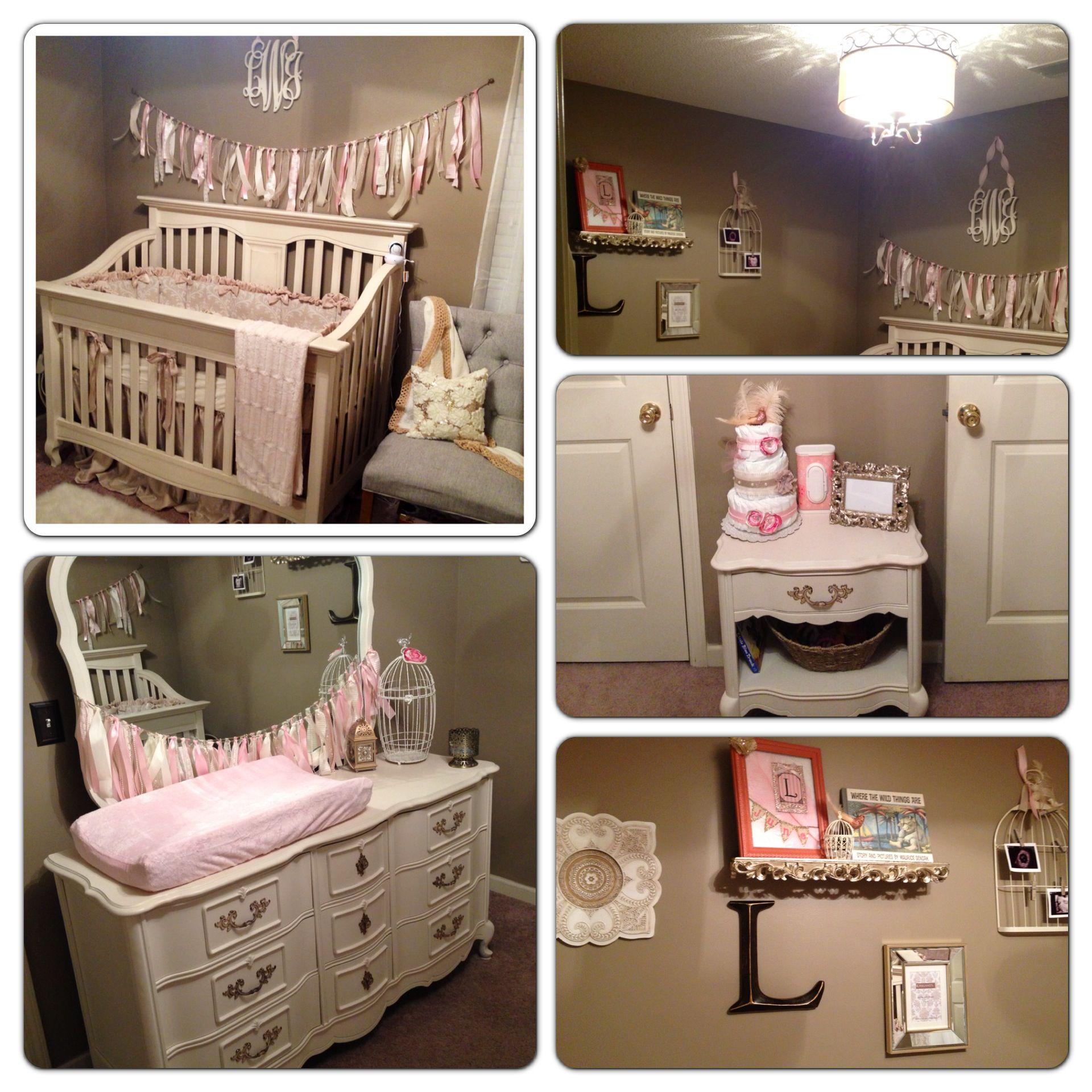 Baby girl nursery Tan and cream nursery Pink nursery