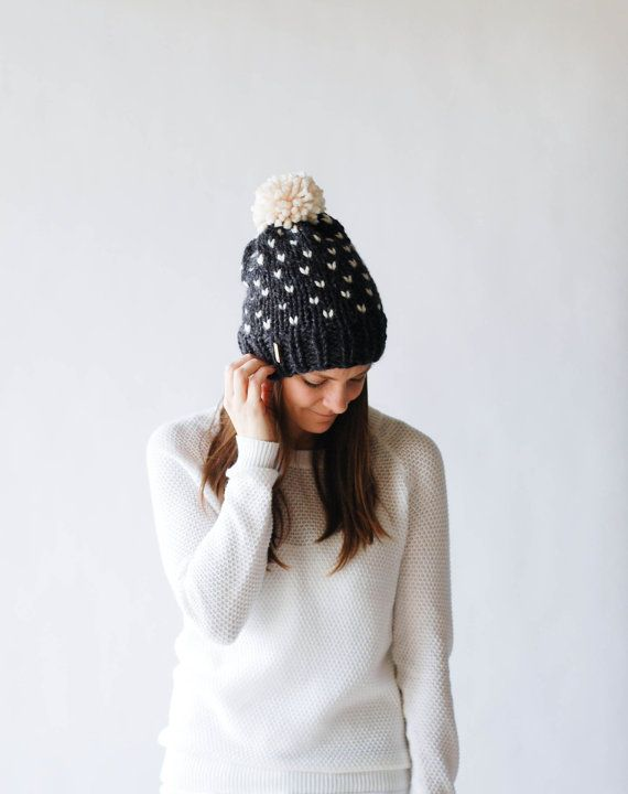 Fair Isle Knit Hat, Slouchy Winter Hat With Pom Pom, Ski Hat / THE ...