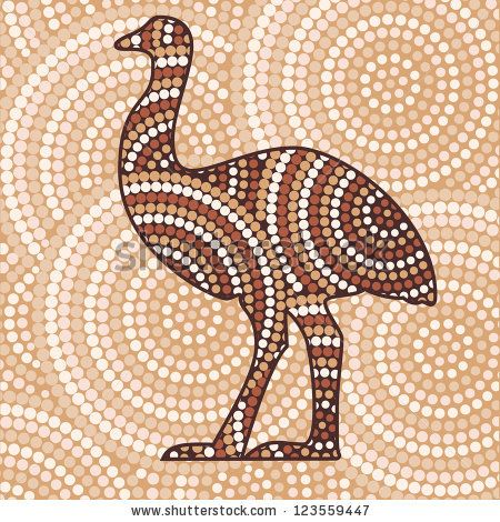 Abstract Aboriginal Emu Dot Painting In Vector Format By