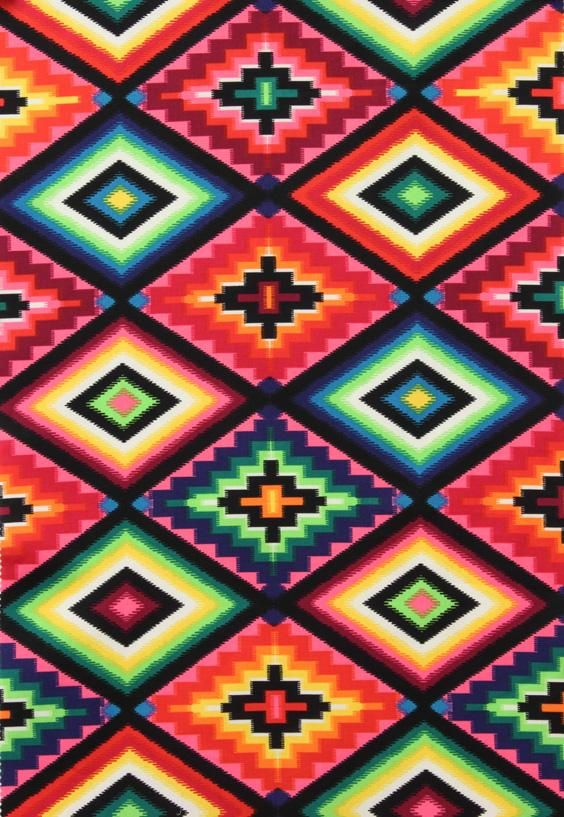 Native Designs Fabric. turquiose native pattern