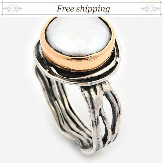 Gift for her, Large Pearl Ring, Vintage Pearl #jewelry #ring ...