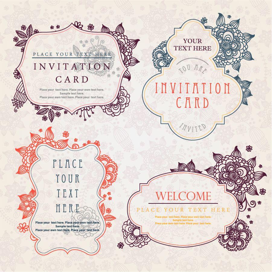 飾りフレームの招待状テンプレート vintage invitation card templates