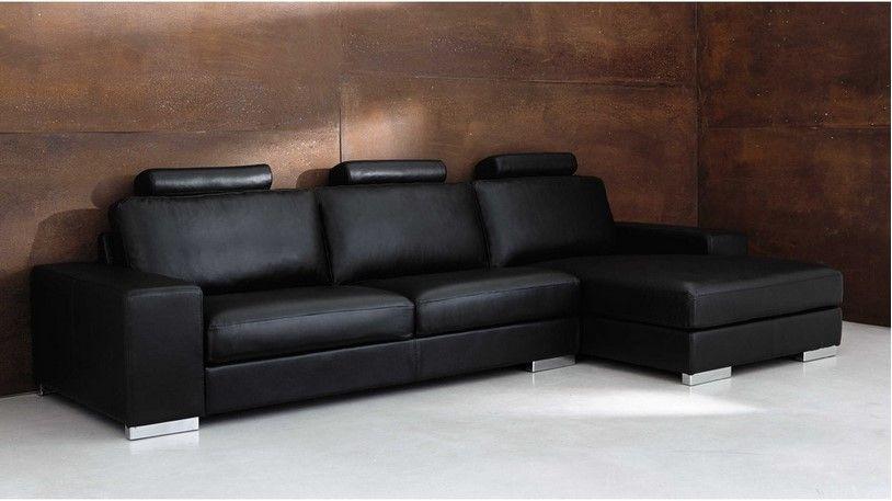 canapé d'angle 5 places en cuir noir daytona prix soldes maisons