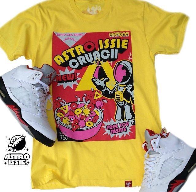 c48612f7f831a Nike Air Jordan Sneakerhead 1980's Style Spaceman Crunch Cereal Yellow T  Shirt | eBay