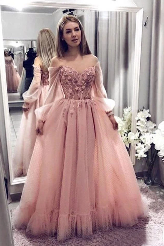 Princess Ball Gown Blush Pink Lace Off the Shoulder Prom ...