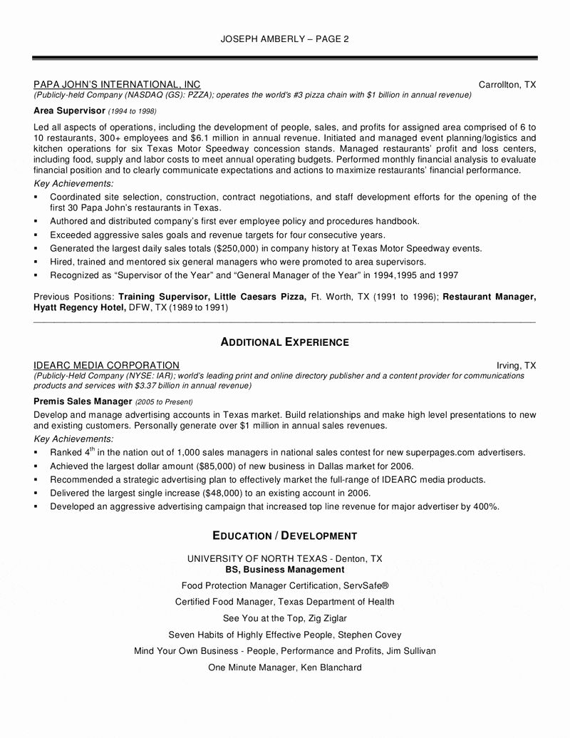 Operations Manager Resume Examples Fresh 9 10 Resturant