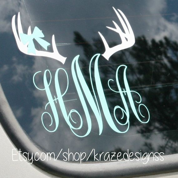 Bow and antlers monogram car decal vinyl car decal on etsy 7 00