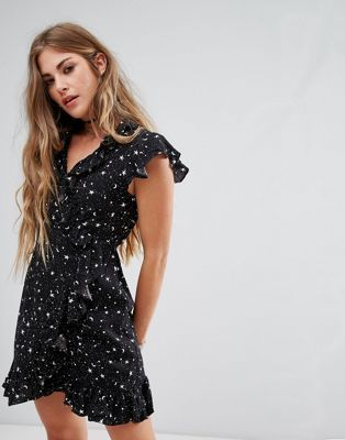 129c5e058f154 Motel Wrap Front Dress With Ruffle Trim In Star Print | the ...