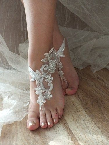deb4817d0f43 The ideal design for your wedding photos .... You can fit every foot.  unusual and unique product .... lace barefoot .. For the b   Beach Wedding  Sandals
