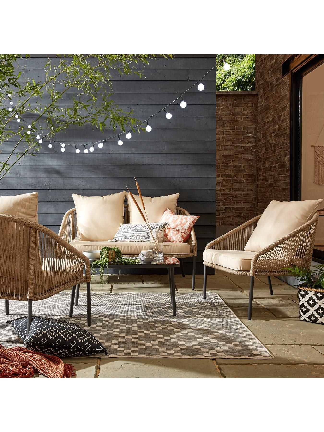 Napoli Rope Effect Sofa Set Garden Furniture Sets Contemporary Outdoor Sofas Garden Furniture Uk