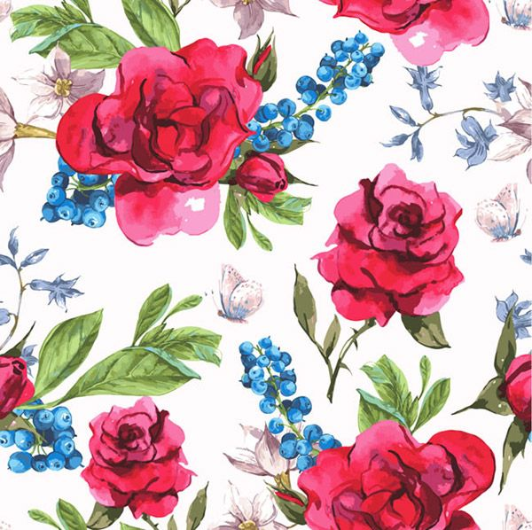Red Roses Seamless Background Vector Floral Watercolor Background Flower Drawing Hand Drawn Flowers