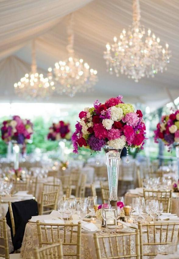 Pink wedding reception idea; photo: Michael Will Photography