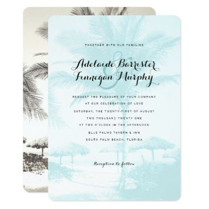 Tropical island blue palm tree wedding invitation vintage wedding tropical island blue palm tree wedding invitation vintage wedding gifts ideas personalize diy unique style stopboris Images