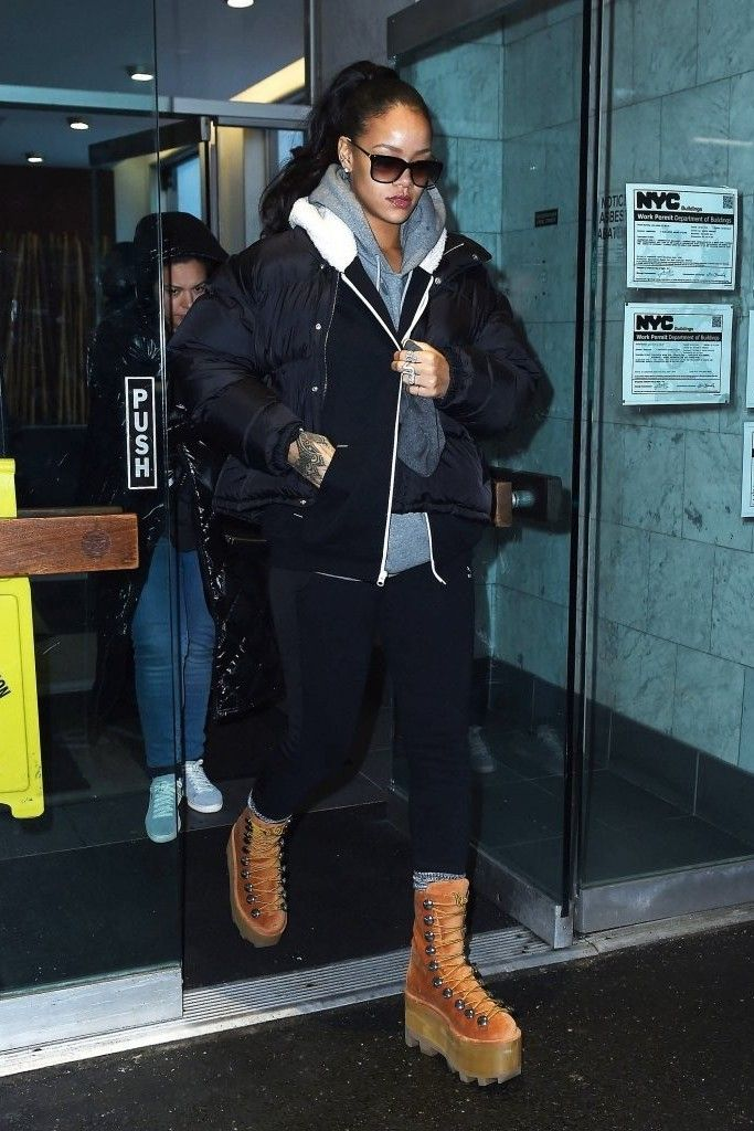 Rihanna wearing Maison Martin Margiela Classic Padded Puffer Jacket ... ffbf20c5a